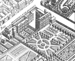 The Paris Foreign Missions Society in 1739 with its park (detail of 1739 map of Paris by Turgot).