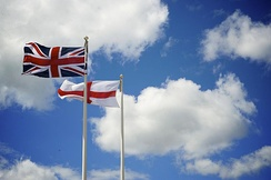The Union Jack flying beside Saint George's Cross