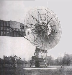 The first automatically operated wind turbine, built in Cleveland in 1887 by Charles F. Brush. It was 60 feet (18 m) tall, weighed 4 tons (3.6 metric tonnes) and powered a 12 kW generator.[8]