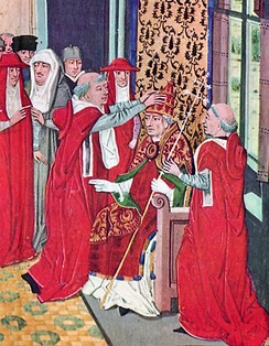 Guy of Boulogne crowning Pope Gregory XI in a 15th-century miniature from Froissart's Chroniques