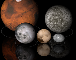Small planets, the Moon and dwarf planets in our solar system have diameters from one to ten million metres. Top row: Mars (left), Mercury (right); bottom row: Moon (left), Pluto (center), and Haumea (right), to scale.
