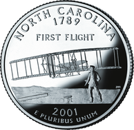 North Carolina 50 State Quarter features the famous first flight photo of the 1903 Wright Flyer I at Kitty Hawk, North Carolina