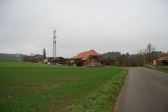 Farm houses and fields in Diesswil