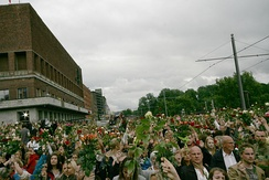 Town Hall Square in Oslo filled with people with roses mourning the victims of the Utøya massacre, 22 July 2011