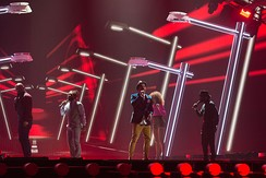Sebastian performing at the Eurovision Song Contest