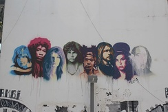 27 Club graffiti in Tel Aviv depicting Winehouse as a key figure