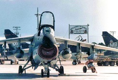 TAC A-7Ds of the deployed 354th Tactical Fighter Wing deployed at Korat Royal Thai Air Force Base, 1972. An A-7D from the 354th fired the last shot in anger of the Vietnam War on 15 August 1973. A-7Ds from Korat RTAFB maintained an alert status in Thailand and participated in the 1975 SS Mayaguez Rescue.