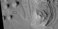 Close view of layers, as seen by HiRISE under HiWish program Box shows the size of a football field.