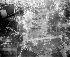 Orly Airfield after two Eighth Air Force bombing raids, taken on 6 June 1944. The Luftwaffe-controlled airfield would have one more heavy bomber attack on 25 June, when 18 B-17s would bomb the facility