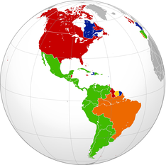 The approximate present-day distribution of Indo-European languages within the Americas by country: Romance:   Spanish   Portuguese–Galician   French Germanic:   English   Dutch
