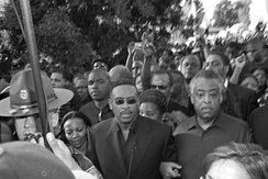 Talk show host Michael Baisden and Al Sharpton, at the front of the September 20, 2007, march in Jena, Louisiana.