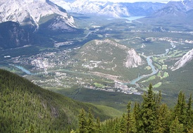 Bow Valley and the town of Banff