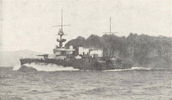 The French battleship Justice at speed
