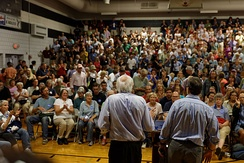 Sanders before a crowd in Conway, New Hampshire, August 2015