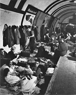 Families sheltering in a London Tube station, c. 1940