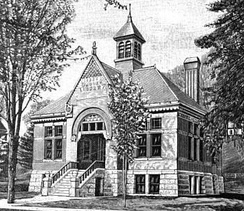 Brooks Free Library (1886, demolished 1971), Alexander C. Currier, architect (image c.1895)