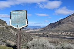 "Historical marker at site of Canadian National's ""last spike"" near Ashcroft, British Columbia"
