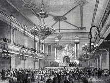 Interior of the Canterbury Hall, an early example of a music hall, opened 1852 in Lambeth.