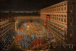 Celebrations for Christina of Sweden at Palazzo Barberini on 28 February 1656.