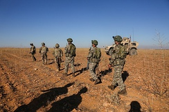 U.S. and Turkish soldiers conduct joint patrols, Manbij outskirts, 1 November 2018