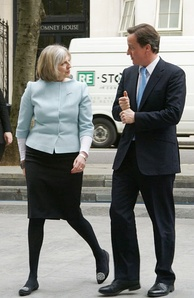 David Cameron with the future Prime Minister Theresa May, who was a member of the Shadow Cabinet from 1999 until 2010