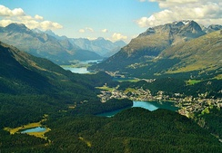 The high valley of Engadine. Tourism constitutes an important revenue for the less industrialised alpine regions.