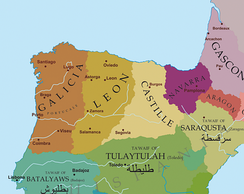 Political situation in the Northern Iberian Peninsula around 1065:   Garcia II´s domains (Galicia)   Badajoz, owing tribute to Garcia   Seville, owing tribute to Garcia   Alfonso VI's domains (León)   Toledo, owing tribute to Alfonso   Sancho II´s domains (Castile)   Zaragoza, owing tribute to Sancho