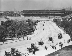 Forbes Field and street, 1909