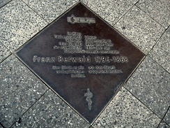 A pavement plate commemorating Berwald's time in Berlin and his orthopedic clinic