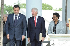 NAACP President & CEO Benjamin Jealous and former president Bill Clinton during the Medgar Evers wreath-laying ceremony in Arlington, June 5, 2013