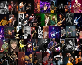 Montage of guitarists. The guitarists pictured are named on the image page.