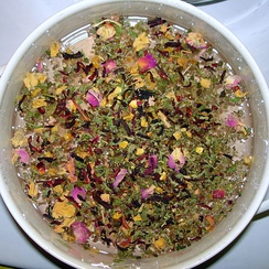 Herbal tea made from hibiscus beginning to steep