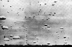 Imperial Japanese Army paratroopers are landing during the Battle of Palembang, February 13, 1942.