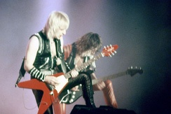 Downing and Tipton performing in San Sebastián, Spain, during their Metal Conqueror Tour of 1984