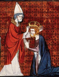 Pope Leo III, crowning Charlemagne from Chroniques de France ou de Saint Denis, vol. 1; France, second quarter of 14th century.
