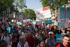 Protest against President Macron and his economic policies in Paris on 5 May 2018