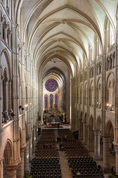 The nave of Laon Cathedral resembles a Norman arch
