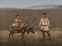 A Sami man and child in Finnmark, Norway, circa 1900
