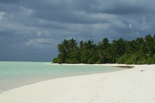 The uninhabited island of Maafushi in South Nilande Atoll