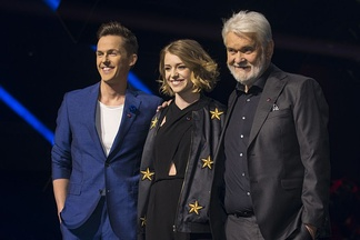 Presenters of Melodifestivalen 2017: David Lindgren, Clara Henry and Hasse Andersson.