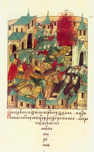 The sacking of Suzdal by Batu Khan in 1238, during the Mongol invasion of Europe.