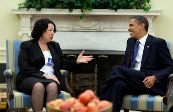 Obama and Supreme Court nominee Sonia Sotomayor