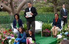President Barack Obama and Michelle Obama, their daughters Malia and Sasha, and Michelle's mother, Marian Robinson at White House Easter Egg Roll