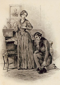 Onegin proposes to Tatiana, late 19th century illustration by Pavel Sokolov