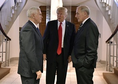 Trump conferring with Vice President Mike Pence and Secretary of Homeland Security John F. Kelly, January 25, 2017