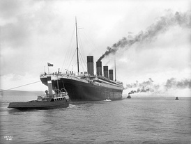 Titanic leaving Belfast for her sea trials on 2 April 1912
