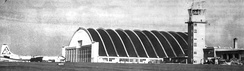 Rapid City Air Force Base B-36 Hangar. Note 28th Bomb Wing B-36 with SAC Tail Code Triangle-S, Photo taken prior to 1953 when tail codes were eliminated by SAC