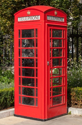 An example of a K6, the most common red telephone box model, photographed in London in 2012.