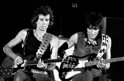 Richards and Wood during a Stones concert in Turin, Italy in 1982