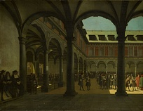 Courtyard of the Amsterdam Stock Exchange (Beurs van Hendrick de Keyser in Dutch), the world's first formal stock exchange. The Amsterdam Stock Exchange was the leading centre of global securities markets in the 17th century.
